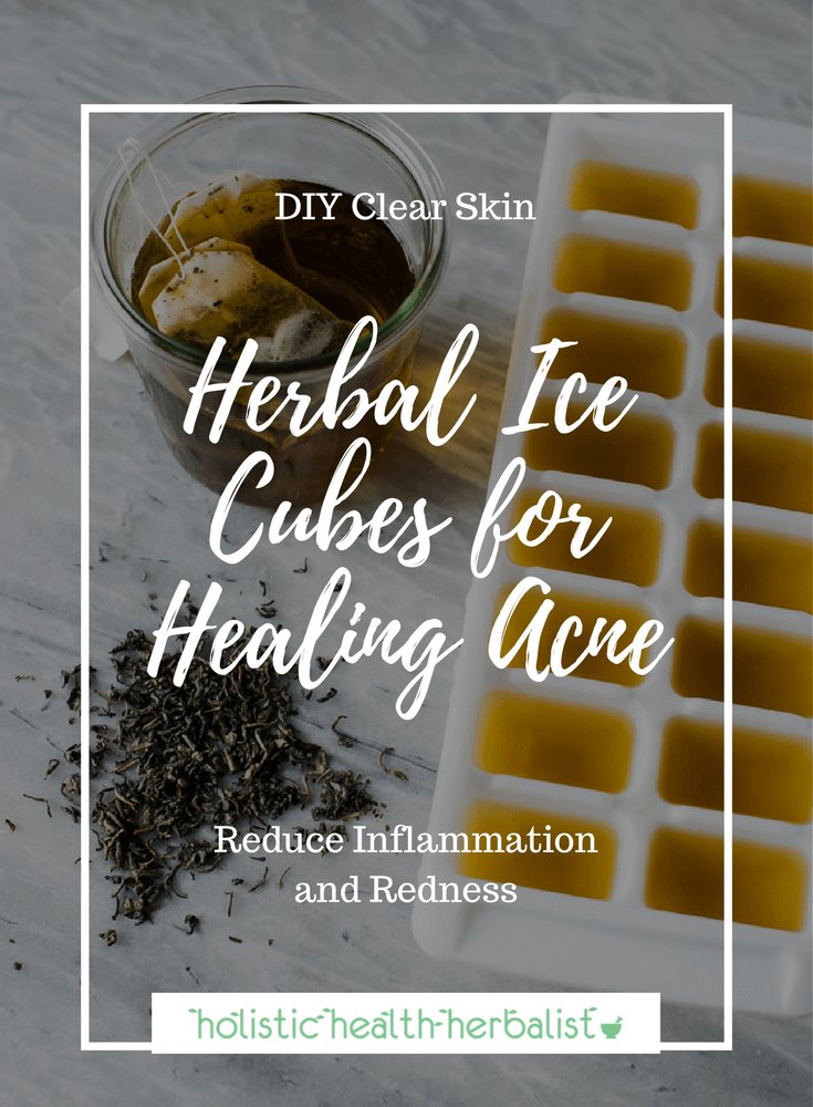 Herbal Ice Cubes for Acne - Learn how to make soothing herbal ice cubes for calming red inflamed blemishes.