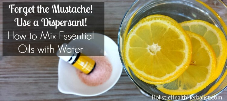 How to mix essential oils with water using a dispersant.