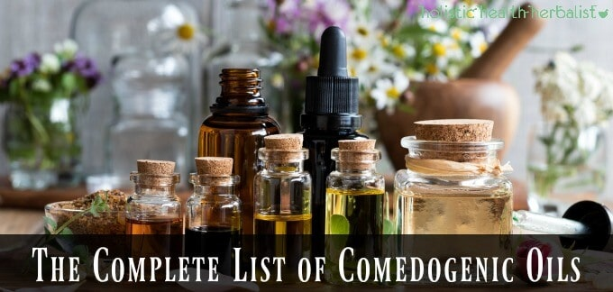 The Complete List of Comedogenic Oils and Their Ratings - photo of bottles of oils.