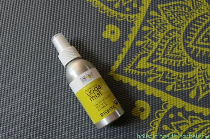 photo of yoga mat spray on a yoga mat