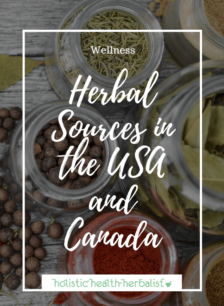 List of Herbal Sources in the USA and Canada (photo of jars full of various herbs)